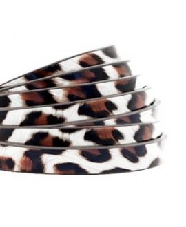 Cordón de cuero plano 5mm PU (imitación) estampado leopardo blanco-marrón , precio por metro
