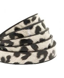 Cordón de cuero plano 10mm PU (imitación) estampado leopardo blanco off , precio por metro