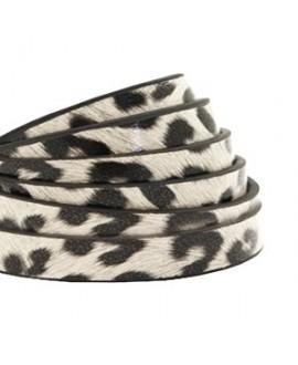 Cordón de cuero plano 5mm PU (imitación) estampado leopardo blanco off , precio por metro