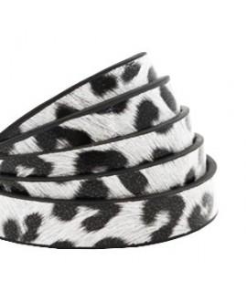 Cordón de cuero plano 10mm PU (imitación) estampado leopardo blanco , precio por metro
