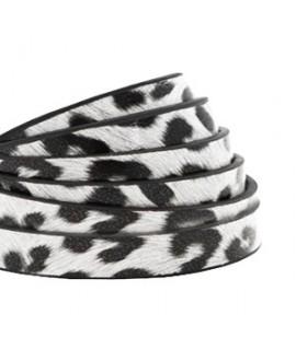 Cordón de cuero plano 5mm PU (imitación) estampado leopardo blanco , precio por metro