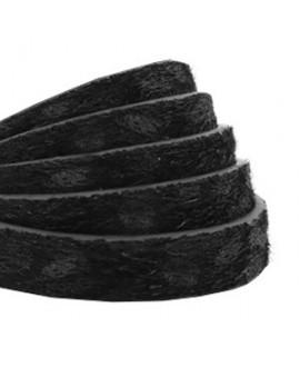 Cordón de cuero plano 10mm PU (imitación) estampado leopardo peludo negro, precio por metro