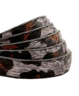 Cordón de cuero plano 10mm PU (imitación) estampado leopardo peludo taupe gris, precio por metro