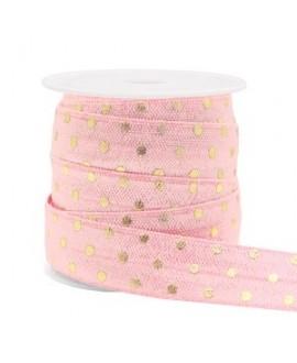 Cinta elástica moteada 15x3mm rosa claro