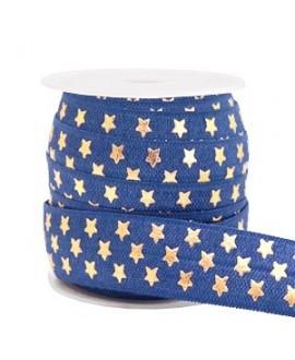 Cinta elástica estrellas 15x3mm azul oscuro