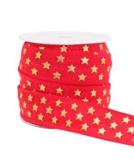 Cinta elástica estrellas 15x3mm rojo