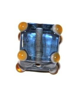 Cuenta cubo puntos azul 15mm, paso 1mm
