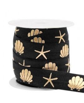 Cinta elástica concha/estrella de mar 15x3mm negro