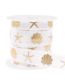 Cinta elástica concha/estrella de mar 15x3mm blanco