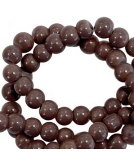 Cuenta de cristal opaco 3mm marrón oscuro, precio por tira de 750 piezas aprox