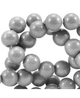 Cuenta de cristal opaco 8mm gris metálico, precio por tira de 206 piezas aprox