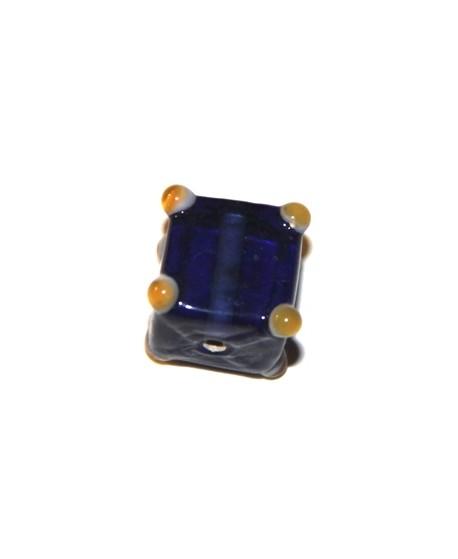 Cuenta cubo puntos azul oscuro 15mm, paso 1mm