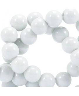 Cuenta de cristal opaco 8mm gris claro, precio por tira de 206 piezas aprox