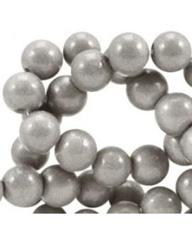 Cuenta de cristal opaco 8mm gris beige metálico, precio por tira de 206 piezas aprox