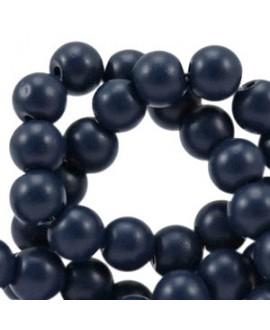 Cuenta de cristal opaco 4mm azul marino oscuro, precio por tira de 420 piezas aprox