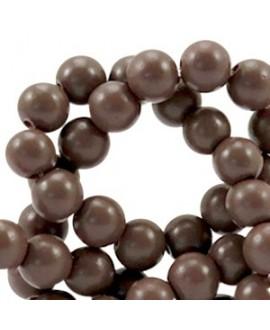Cuenta de cristal semi mate marrón mocha, precio por tira de 206 piezas aprox