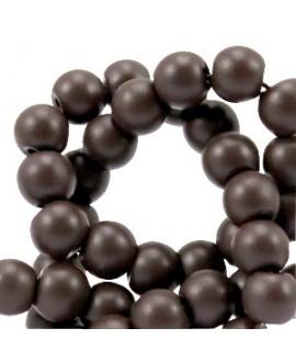 Cuenta de cristal semi mate 6mm marrón coffee, precio por tira de 276 piezas aprox