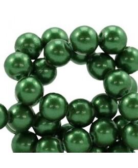 Cuenta de cristal nacarado 8mm verde, precio por tira de 50 piezas aprox