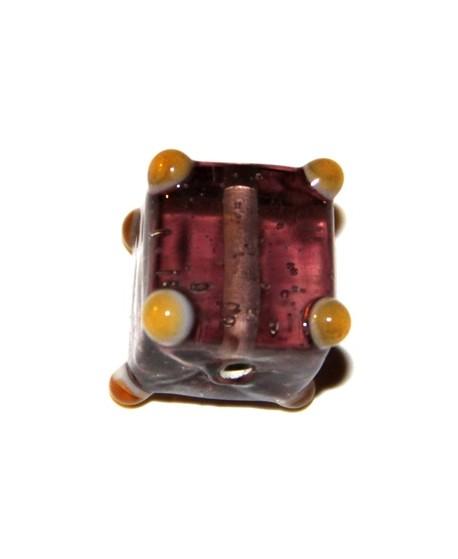Cuenta cubo puntos lila  15mm, paso 1mm