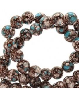 Cuenta de cristal stone look  8mm marrón/turquesa/blanco, precio por tira de 210 piezas aprox