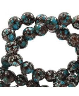 Cuenta de cristal stone look  8mm marrón/turquesa, precio por tira de 210 piezas aprox