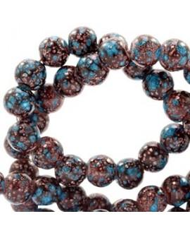 Cuenta de cristal stone look  8mm marrón oscuro/turquesa, precio por tira de 210 piezas aprox