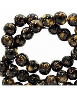 Cuenta de cristal stone look  6mm marrón oscuro/dorado, precio por tira de 280 piezas aprox