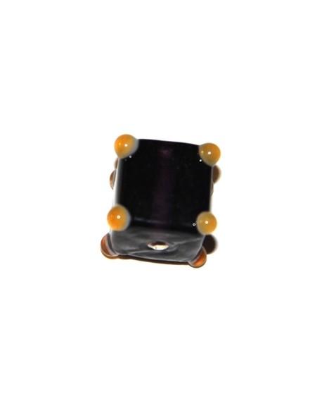 Cuenta cubo puntos morado  15mm, paso 1mm