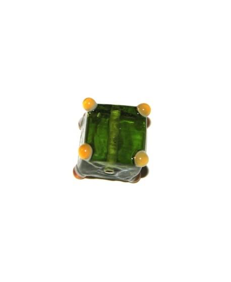 Cuenta cubo puntos verde  15mm, paso 1mm