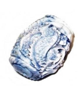 Cuenta resina azul/blanco 35x22mm paso 1,5mm, UNIDAD