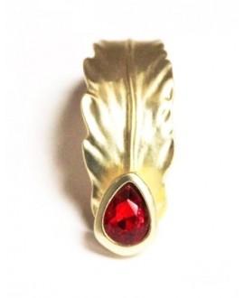Media pulsera hoja con cristal rojo paso 10x2mm, oro mate