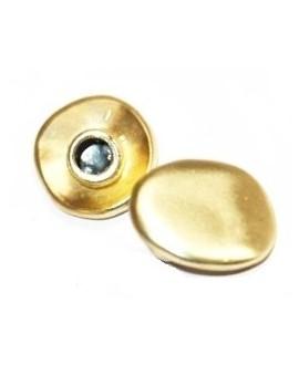Cierre botón 15mm, paso 4mm, oro mate