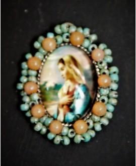 Medalla religiosa bordada a mano 40x35mm