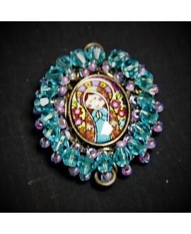 Medalla religiosa bordada a mano 35x30mm