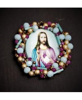 Medalla religiosa bordada a mano 60x50mm