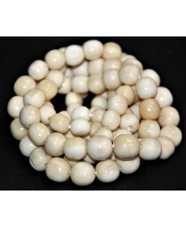 Cuentas de hueso Batik crema de Kenia redondas 8/12mm(graduadas), venta por tira 55 unid aprox