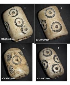 Cuentas de hueso antiguos crema/negro de Kenia