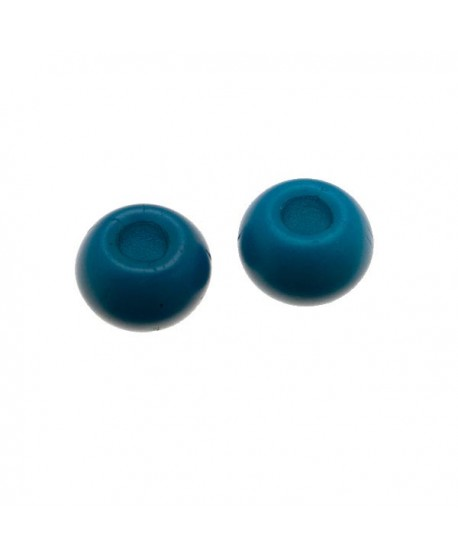Donut de vidrio azul turquesa mate  de 7x4mm, paso 2,4mm, precio por 20 unidades