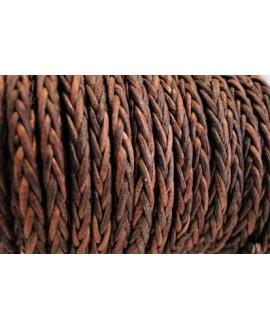 Cordón de cuero  4mm trenzado redondo,VINTAGE COGNAC, calidad superior, precio por metro