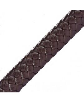 Cordón de cuero tejido PU (imitación)  10x3mm, precio por metro