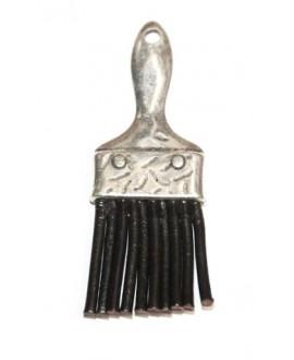 Colgante brocha/cuero 70mm, zamak baño de plata