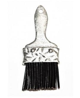 Colgante brocha/cuero 85mm, zamak baño de plata