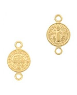 Entre-pieza/colgante medalla jesús 16x10mm paso 2mm, zamak baño de oro