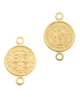 Entre-pieza/colgante medalla jesús 18x12mm paso 1,8mm, zamak baño de oro