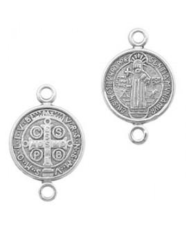 Entre-pieza/colgante medalla jesús 18x12mm paso 1,8mm, zamak baño de plata