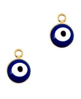 Colgante ojo turco/nazar dorado-azul 6mm paso 1,5mm, LATÓN baño de oro