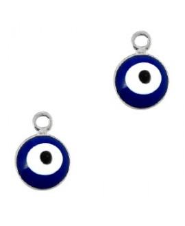 Colgante ojo turco/nazar dorado-azul 6mm paso 1,5mm, LATÓN baño de plata