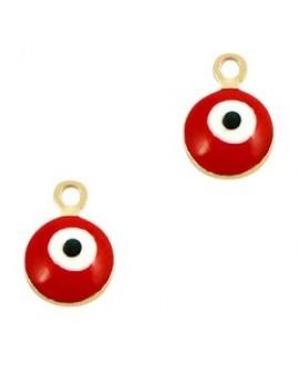 Colgante ojo turco/nazar dorado-rojo 9x6mm paso 1,5mm, LATÓN baño de oro