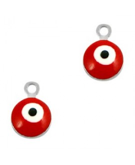 Colgante ojo turco/nazar dorado-rojo 9x6mm paso 1,5mm, LATÓN baño de plata
