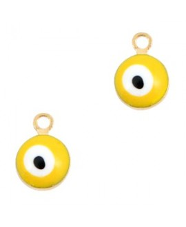 Colgante ojo turco/nazar dorado-amarillo 9x6mm paso 1,5mm, LATÓN baño de oro